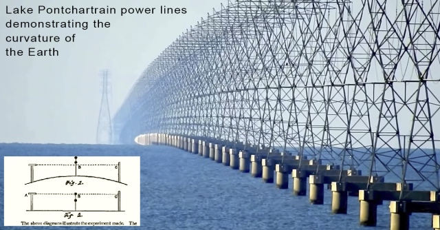 Lake Pontchartrain power lines demonstrating the curvature Metabunk
